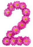 Арабский цифр 2, 2, от цветков хризантемы, изолировал o Стоковые Фотографии RF
