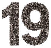 Арабский цифр 19, 19, от черноты естественный уголь, isol Стоковые Фотографии RF