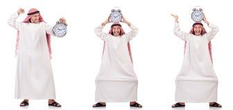 Арабский человек в концепции времени на белизне Стоковые Изображения