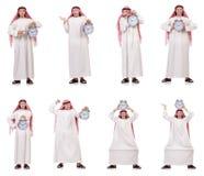 Арабский человек в концепции времени на белизне Стоковое фото RF