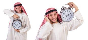 Арабский человек в концепции времени на белизне Стоковое Изображение RF