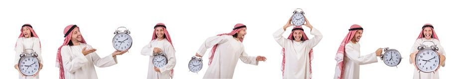 Арабский человек в концепции времени на белизне Стоковые Изображения RF