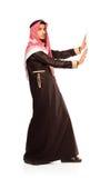 Арабское нажатие бизнесмена изолированное на белизне Стоковое Изображение