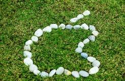 Аранжировать белый камень на зеленой траве в концепции f логотипа яблока стоковые фото