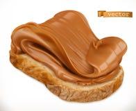 Арахисовое масло на хлебе Значок вектора распространения 3d карамельки реалистический бесплатная иллюстрация