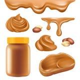 Арахисовое масло Сливк здорового протеина шоколада десерта маслообразная для изображений вектора еды карамельки распространения с бесплатная иллюстрация