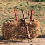 Арбалет и стрелки на блоке соломы Стоковая Фотография RF