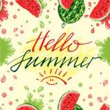 Арбузы и лето литерности здравствуйте! Стоковая Фотография