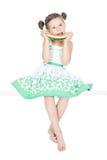 арбуз девушки счастливый маленький Стоковые Фотографии RF