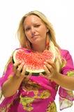 арбуз девушки Стоковое Фото