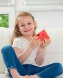 арбуз девушки счастливый маленький Стоковое Изображение RF