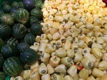Арбуз и capsicum в супермаркете стоковые фотографии rf