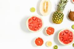 Арбуз, кокос, дыня, грейпфрут, известка и лимон на белизне Стоковое Изображение