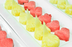 арбуз красного цвета ананаса сердца тарелки Стоковая Фотография RF