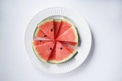 Арбуз Куски свежего арбуза на белизне Стоковое Фото