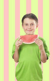 арбуз мальчика сь стоковое фото rf