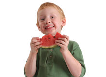 арбуз мальчика Стоковое фото RF