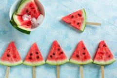 Арбуз плода отрезанный мороженым стоковое изображение