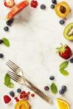 Арбуз, плодоовощи, ягоды и листья мяты Concep плодоовощ лета Стоковая Фотография