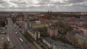 Ареальная панорама города Bialystok в Польше акции видеоматериалы