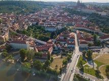 Ареальная съемка городка Праги старого Стоковое Изображение