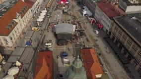 Ареальный рыночной площади городка Bialystok старой в Польше сток-видео