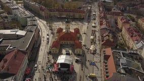 Ареальный рыночной площади городка Bialystok старой в Польше видеоматериал