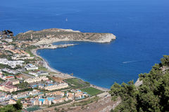 Ареальный взгляд от Agia Tsambika, Ист-Сайд Родоса, Греции Стоковая Фотография RF