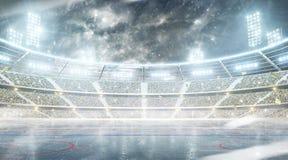 Арена хоккея на льде На открытом воздухе стадион зимы Каток ночи Снежности на стадионе стоковые фотографии rf