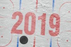 Арена хоккея с разметкой и шайбой стоковые фото