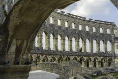 арена amphitheatre как самое лучшее столетие сперва свой известный мир самых больших по месту pula шестой стоковое фото