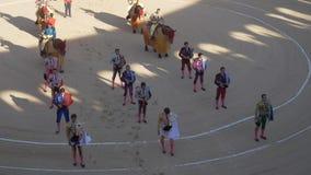 Арена, bullfighters входя в кольцо, Juan Jose Padilla, Иисуса Duque, Varea