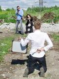 Арест проведения 2 агент ФБР обидчика Стоковое Фото