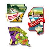 Арканзас Миссиссипи Луизиана проиллюстрировал дизайны стикера Стоковые Изображения