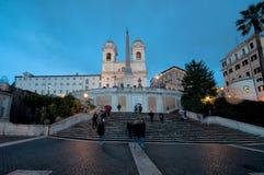 Аркада di Spagna, Рим, Италия, к ноча Стоковые Изображения