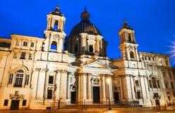 Аркада Navona на ноче, Риме, Италии Стоковое Фото