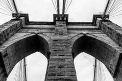 Аркы Бруклинского моста благоустраивают аспект - черно-белый стоковое изображение rf