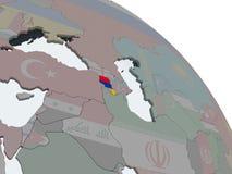Армения с флагом на глобусе иллюстрация штока