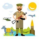 Армия Афганистана вектора Иллюстрация шаржа плоского стиля красочная Стоковое Изображение RF
