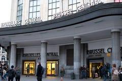 Армия Бельгии обеспечивает центральную станцию - главным образом железнодорожный вокзал Брюсселя Стоковая Фотография