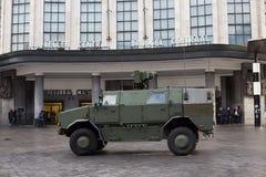Армия Бельгии обеспечивает центральную станцию - главным образом железнодорожный вокзал Брюсселя Стоковое фото RF