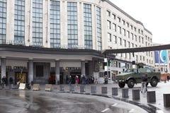 Армия Бельгии обеспечивает центральную станцию - главным образом железнодорожный вокзал Брюсселя Стоковое Фото