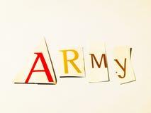 Армия - вырез формулирует коллаж смешанных писем кассеты с белой предпосылкой Стоковое Фото