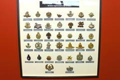 Армия значков Insignia великобританская на музее Стоковые Изображения RF