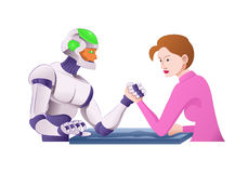 Армрестлинг робота Droid с женщиной Стоковое Фото