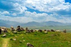 Армянская обсерватория Стоунхенджа Carahunge старая стоковые изображения rf