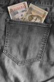 2 армянских примечания в карманн джинсов стоковые изображения