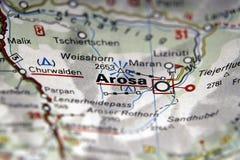 Ароза на карте, Италия Стоковое Изображение