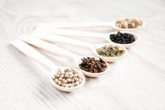 Ароматичная еда варя ингридиенты Черно-белый перец, гвоздичное дерево, смачное, семена фенхеля Стоковые Фотографии RF