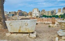 Артефакты в археологических раскопках Dikka объявления Kom, Александрии, e Стоковое Фото
